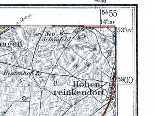 Reduced fragment of topographic map de--kdr4--100k--052--(1937)--N053-15_E013-20--N052-45_E014-20 in area of Parsteiner See, Grimnitzsee, Werbellinsee; towns and cities Eberswalde, Schwedt, Templin, Angermunde, Bad Freienwalde