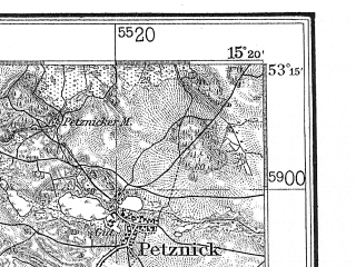 Reduced fragment of topographic map de--kdr4--100k--053--(1936)--N053-15_E014-20--N052-45_E015-20; towns and cities Mysliborz, Barlinek, Pyrzyce, Chojna, Lipiany