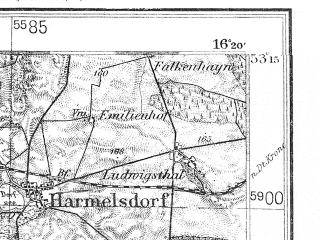 Reduced fragment of topographic map de--kdr4--100k--054--(1938)--N053-15_E015-20--N052-45_E016-20; towns and cities Choszczno, Krzyz, Strzelce Krajenskie, Drezdenko, Tuczno