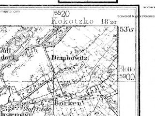 Reduced fragment of topographic map de--kdr4--100k--056--(1928)--N053-15_E017-20--N052-45_E018-20; towns and cities Bydgoszcz, Inowroclaw, Naklo Nad Notecia, Znin, Kcynia
