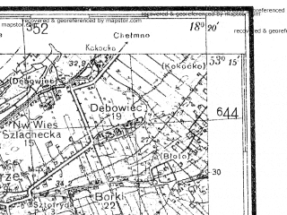 Reduced fragment of topographic map de--kdr4--100k--056--(1937)--N053-15_E017-20--N052-45_E018-20; towns and cities Bydgoszcz, Inowroclaw, Naklo Nad Notecia, Znin, Szubin