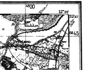 Reduced fragment of topographic map de--kdr4--100k--063--(1936)--N052-45_E011-20--N052-15_E012-20 in area of Gulper See; towns and cities Burg, Haldensleben, Rathenow, Genthin, Letzlingen