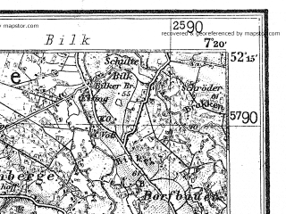 Reduced fragment of topographic map de--kdr4--100k--070--(1937)--N052-15_E006-20--N051-45_E007-20; towns and cities Enschede, Bocholt, Borken, Coesfeld, Dulmen