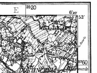 Reduced fragment of topographic map de--kdr4--100k--070a--(1926)--N052-00_E005-50--N051-45_E006-20; towns and cities Arnhem, Nijmegen, Doetinchem, Emmerich, Kleve