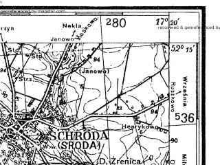 Reduced fragment of topographic map de--kdr4--100k--080--(1940)--N052-15_E016-20--N051-45_E017-20; towns and cities Leszno, Koscian, Mosina, Gostyn, Srem