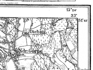 Reduced fragment of topographic map de--kdr4--100k--090--(1928)--N051-45_E014-20--N051-15_E015-20 in area of Talspere Quitzdorf; towns and cities Spremberg, Zagan, Zary, Ilowa, Leknica