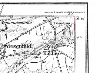 Reduced fragment of topographic map de--kdr4--100k--092--(1921)--N051-45_E016-20--N051-15_E017-20; towns and cities Rawicz, Brzeg Dolny, Wolow, Scinawa, Trzebnica