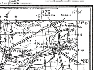 Reduced fragment of topographic map de--kdr4--100k--092--(1937)--N051-45_E016-20--N051-15_E017-20; towns and cities Rawicz, Brzeg Dolny, Wolow, Milicz, Scinawa