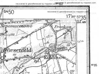 Reduced fragment of topographic map de--kdr4--100k--092--(1940)--N051-45_E016-20--N051-15_E017-20; towns and cities Wolow, Rawicz, Brzeg Dolny, Trzebnica, Gora
