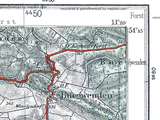 Reduced fragment of topographic map de--kdr4--100k--098--(1936)--N051-15_E010-20--N050-45_E011-20; towns and cities Erfurt, Weimar, Gotha, Muhlhausen, Sommerda