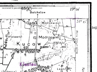 Reduced fragment of topographic map de--kdr4--100k--106--(1944)--N051-15_E018-20--N050-45_E019-20; towns and cities Wielun, Olesno, Dzialoszyn, Praszka, Siemkowice