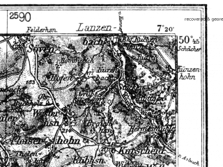 Reduced fragment of topographic map de--kdr4--100k--107b--(1936)--N050-45_E006-20--N050-15_E007-20 in area of Rur-stausee, Laacher See, Urft-stausee; towns and cities Bonn, Bad Neuenahr Ahrweiler, Euskirchen, Konigswinter