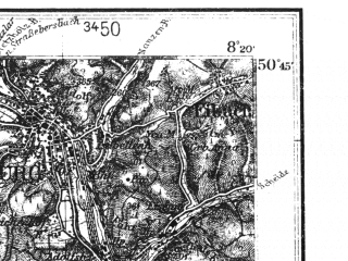 Reduced fragment of topographic map de--kdr4--100k--108--(1937)--N050-45_E007-20--N050-15_E008-20; towns and cities Koblenz, Neuwied, Andernach, Limburg An Der Lahn