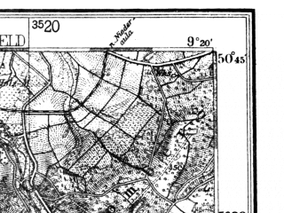 Reduced fragment of topographic map de--kdr4--100k--109--(1939)--N050-45_E008-20--N050-15_E009-20; towns and cities Giessen, Wetzlar, Friedberg, Alsfeld