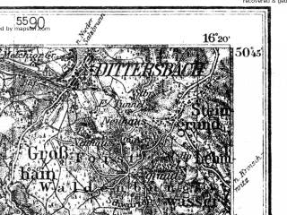 Reduced fragment of topographic map de--kdr4--100k--115--(1938)--N050-45_E015-20--N050-15_E016-20; towns and cities Trutnov, Boguszow-gorce, Kudowa-zdroj, Lubawka, Mieroszow