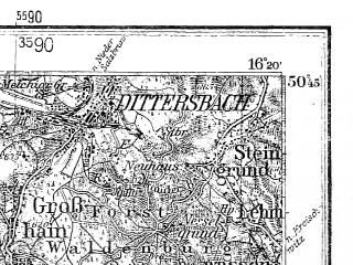 Reduced fragment of topographic map de--kdr4--100k--115--(1945)--N050-45_E015-20--N050-15_E016-20; towns and cities Trutnov, Boguszow-gorce, Kudowa-zdroj, Lubawka, Mieroszow