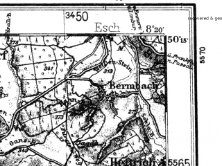 Reduced fragment of topographic map de--kdr4--100k--120--(1933)--N050-15_E007-20--N049-45_E008-20; towns and cities Wiesbaden, Mainz, Bad Kreuznach