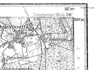 Reduced fragment of topographic map de--kdr4--100k--127--(1921)--N050-15_E017-20--N049-45_E018-20; towns and cities Ostrava, Opava, Raciborz, Krnov, Bruntal