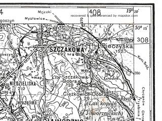 Reduced fragment of topographic map de--kdr4--100k--128--(1939)--N050-15_E018-20--N049-45_E019-20; towns and cities Bielsko-biala, Rybnik, Tychy, Zory, Havirov