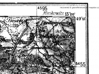 Reduced fragment of topographic map de--kdr4--100k--142--(1940)--N049-15_E012-20--N048-45_E013-20; towns and cities Deggendorf, Straubing, Cham, Plattling, Zwiesel