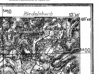 Reduced fragment of topographic map de--kdr4--100k--150--(1937)--N048-45_E013-20--N048-15_E013-50; towns and cities Passau, Scharding