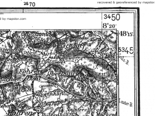 Reduced fragment of topographic map de--kdr4--100k--151a--(1937)--N048-15_E007-20--N047-45_E008-20 in area of Schluchsee; towns and cities Freiburg, Mulhouse, Colmar