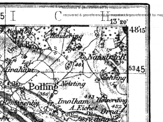 Reduced fragment of topographic map de--kdr4--100k--156--(1937)--N048-15_E012-20--N047-45_E013-20 in area of Chiemsee, Waginger See, Wallersee; towns and cities Salzburg, Burghausen, Strasswalchen, Traunstein, Mondsee