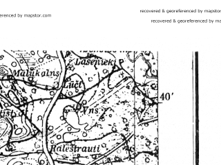 Reduced fragment of topographic map de--kdr4--100k--309--(1940)--N056-45_E023-40--N056-15_E024-20; towns and cities Yelgava, Bauska, Eleya, Iyetsava, Zeimelis