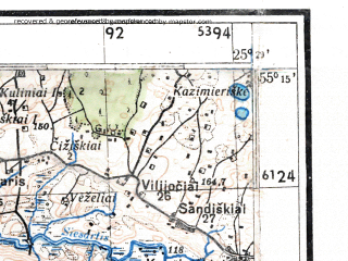 Reduced fragment of topographic map de--kdr4--100k--324--(1944)--N055-15_E024-20--N054-45_E025-20; towns and cities Elektrenay, Maisaigala, Shirvintos, Vepryay