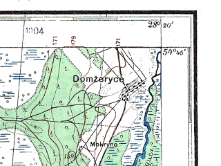 Reduced fragment of topographic map de--kdr4--100k--330a--(1941)--N054-45_E027-20--N054-15_E028-20; towns and cities Dolginovo, Zembin