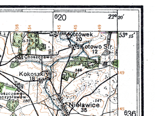 Reduced fragment of topographic map de--kdr4--100k--341--(1944)--N053-15_E021-20--N052-45_E022-20; towns and cities Lomza, Ostroleka, Ostrow Mazowiecka, Zambrow, Kadzidlo