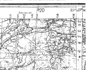 Reduced fragment of topographic map de--kdr4--100k--344--(1941)--N053-15_E024-20--N052-45_E025-20; towns and cities Slonim, Volkovysk, Derechin, Ruzhany