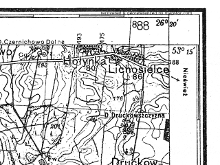 Reduced fragment of topographic map de--kdr4--100k--345--(1941)--N053-15_E025-20--N052-45_E026-20; towns and cities Baranovichi, Byten, Domanovo, Lesnaya