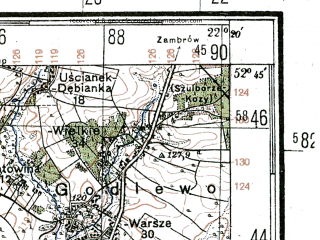 Reduced fragment of topographic map de--kdr4--100k--349--(1944)--N052-45_E021-20--N052-15_E022-20; towns and cities Wyszkow, Sokolow Podlaski, Tluszcz, Wegrow, Jadow