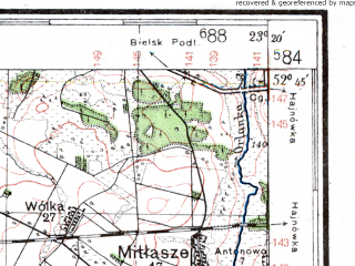 Reduced fragment of topographic map de--kdr4--100k--350--(1941)--N052-45_E022-20--N052-15_E023-20; towns and cities Kleszczele