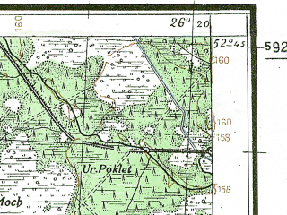 Reduced fragment of topographic map de--kdr4--100k--353--(1941)--N052-45_E025-20--N052-15_E026-20; towns and cities Ivatsevichi, Logishin, Motol, Telekhany