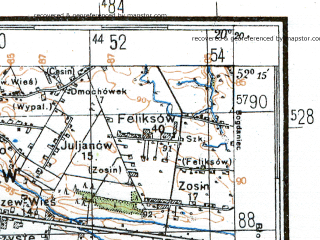 Reduced fragment of topographic map de--kdr4--100k--356--(1944)--N052-15_E019-20--N051-45_E020-20; towns and cities Zgierz, Kutno, Lowicz, Skierniewice, Rawa Mazowiecka