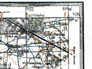 Reduced fragment of topographic map de--kdr4--100k--357--(1942)--N052-15_E020-20--N051-45_E021-20; towns and cities Warsaw, Pruszkow, Zyrardow, Otwock, Piaseczno