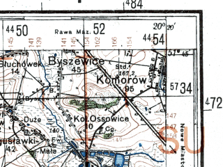 Reduced fragment of topographic map de--kdr4--100k--365--(1944)--N051-45_E019-20--N051-15_E020-20; towns and cities Lodz, Piotrkow Trybunalski, Tomaszow Mazowiecki, Belchatow, Koluszki