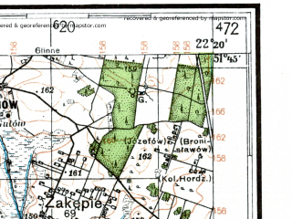 Reduced fragment of topographic map de--kdr4--100k--367--(1941)--N051-45_E021-20--N051-15_E022-20; towns and cities Pulawy, Kozienice, Pionki, Deblin, Ryki