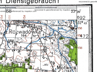 Reduced fragment of topographic map de--kdr4--100k--368--(1941)--N051-45_E022-20--N051-15_E023-20; towns and cities Lubartow, Parczew, Kock, Ostrow Lubelski