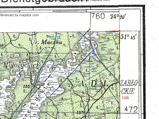 Reduced fragment of topographic map de--kdr4--100k--369--(1941)--N051-45_E023-20--N051-15_E024-20; towns and cities Wlodawa, Shatsk, Zabolot'ye, Polapy, Galedin