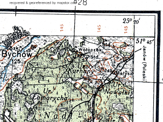 Reduced fragment of topographic map de--kdr4--100k--370--(1939)--N051-45_E024-20--N051-15_E025-20; towns and cities Kamen'-kashirskiy, Ratno, Nuyno, Staraya Vyzhevka, Glukhi