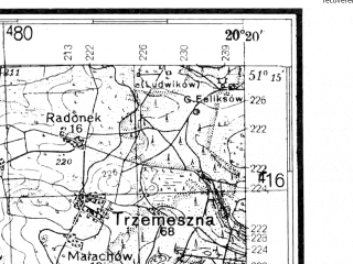 Reduced fragment of topographic map de--kdr4--100k--373--(1938)--N051-15_E019-20--N050-45_E020-20; towns and cities Radomsko, Koniecpol, Wloszczowa, Przedborz, Zarnow