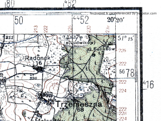 Reduced fragment of topographic map de--kdr4--100k--373--(1944)--N051-15_E019-20--N050-45_E020-20; towns and cities Radomsko, Wloszczowa, Koniecpol, Przedborz, Zarnow