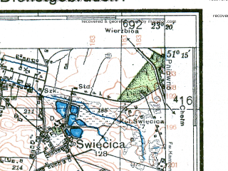 Reduced fragment of topographic map de--kdr4--100k--376--(1942)--N051-15_E022-20--N050-45_E023-20; towns and cities Lublin, Swidnik, Krasnystaw, Wysokie