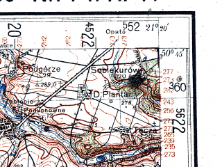 Reduced fragment of topographic map de--kdr4--100k--382--(1944)--N050-45_E020-20--N050-15_E021-20; towns and cities Busko-zdroj, Staszow, Pinczow, Szczucin, Bogoria