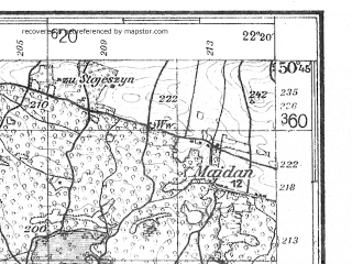 Reduced fragment of topographic map de--kdr4--100k--383--(1937)--N050-45_E021-20--N050-15_E022-20; towns and cities Stalowa Wola, Tarnobrzeg, Mielec, Sandomierz, Nisko