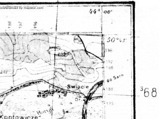 Reduced fragment of topographic map de--kdr4--100k--387--(1939)--N050-45_E025-20--N050-15_E026-20; towns and cities Rovno, Dubno, Zdolbunov, Zdolbitsa, Mlinov