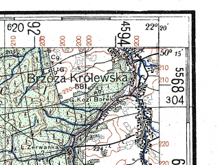 Reduced fragment of topographic map de--kdr4--100k--391--(1944)--N050-15_E021-20--N049-45_E022-20; towns and cities Rzeszow, Debica, Lancut, Strzyzow, Kolbuszowa